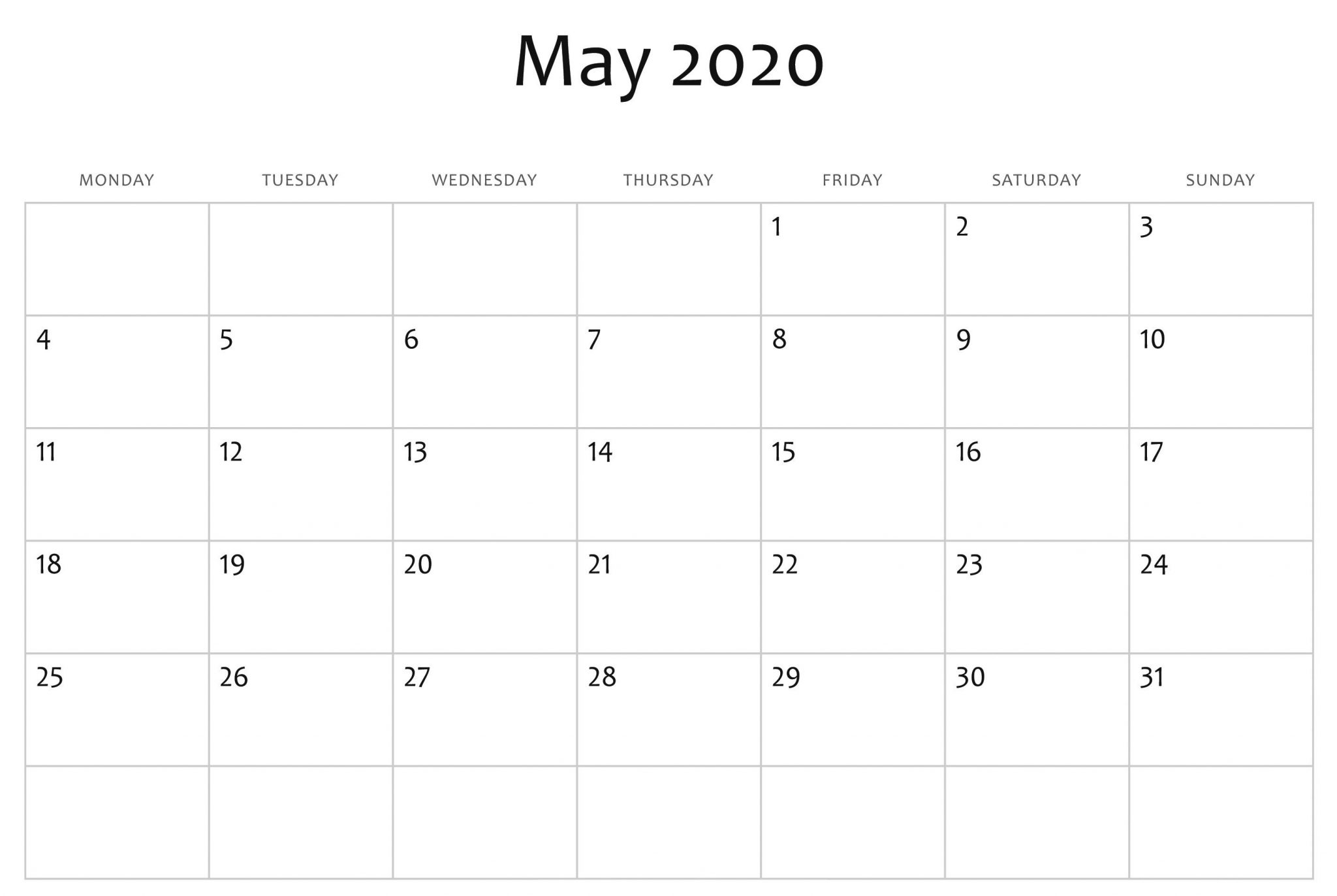 Fillable May 2020 Calendar Blank Template