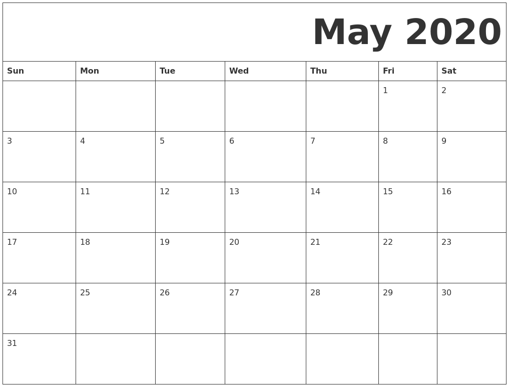 Fillable May 2020 Calendar Editable
