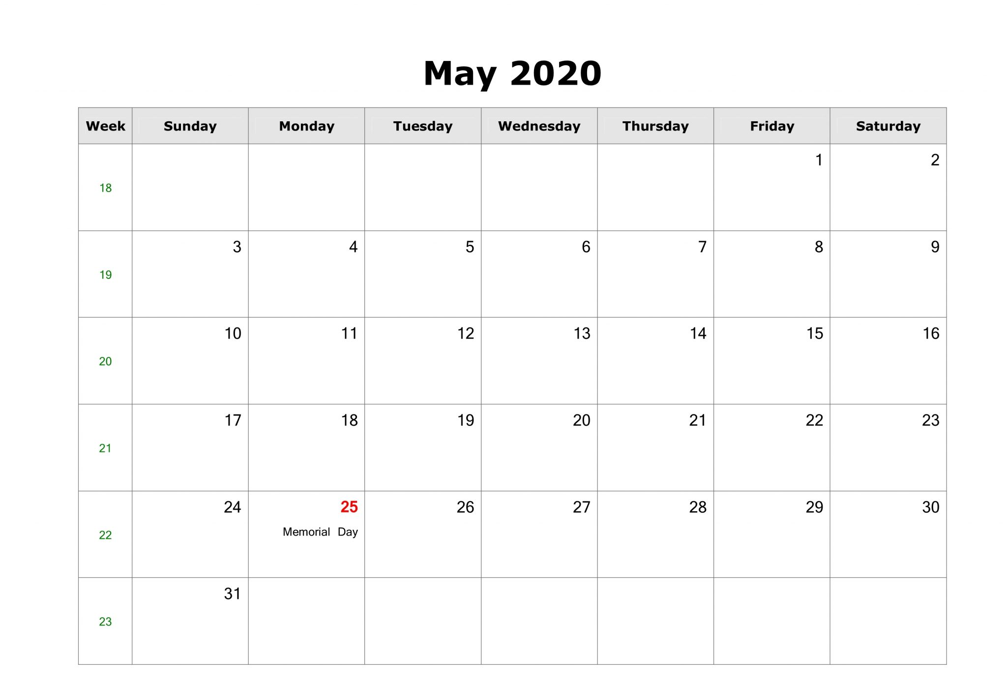 Fillable May 2020 Calendar Landscape