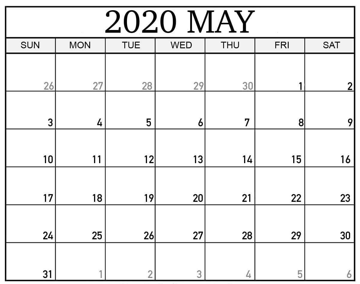 Fillable May 2020 Calendar Portrait