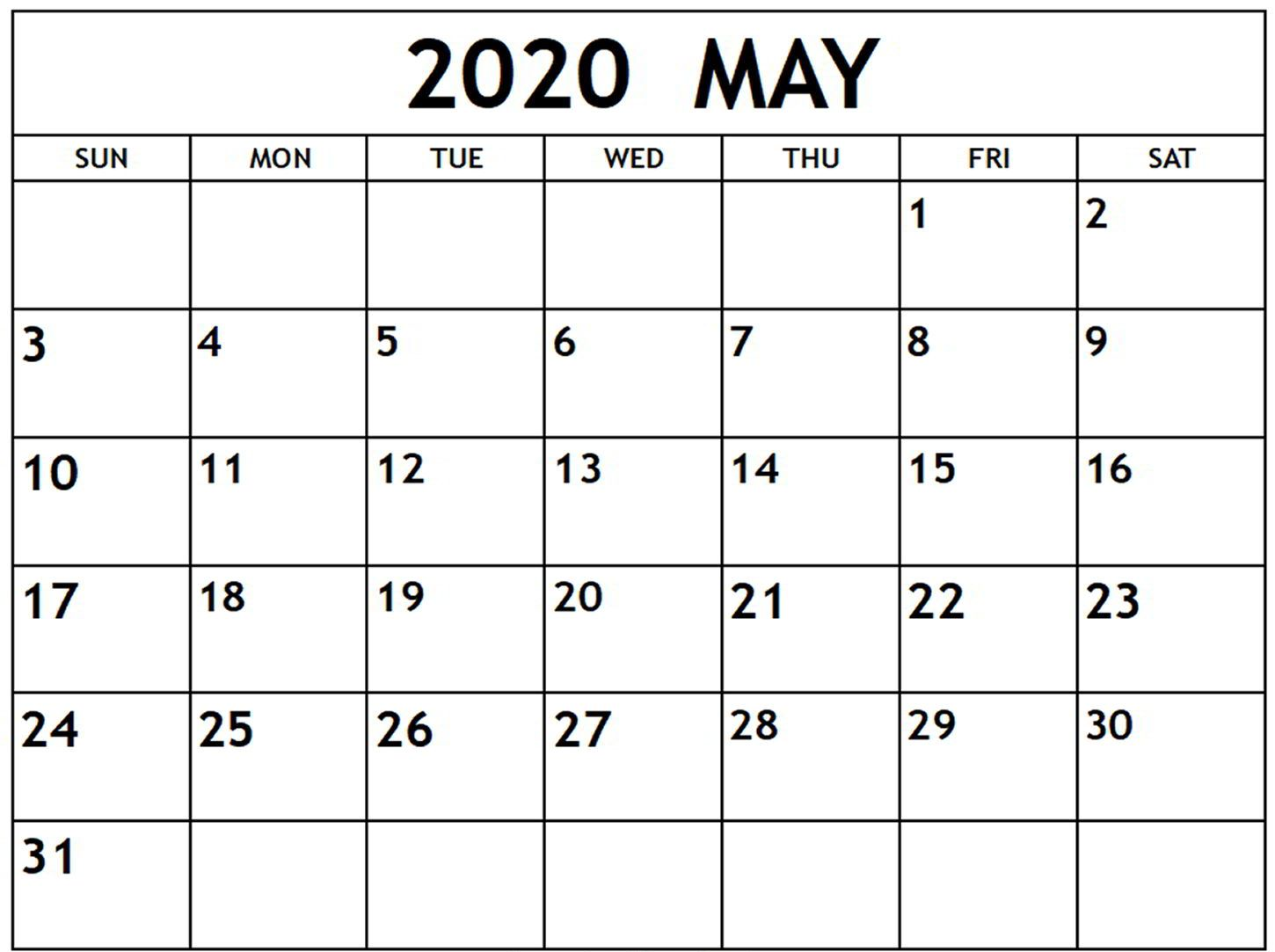 Fillable May 2020 Calendar Printable
