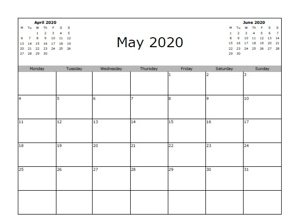 Fillable May 2020 Calendar with Notes