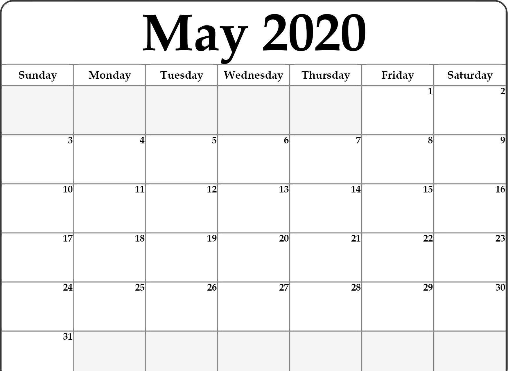 Fillable May Calendar 2020