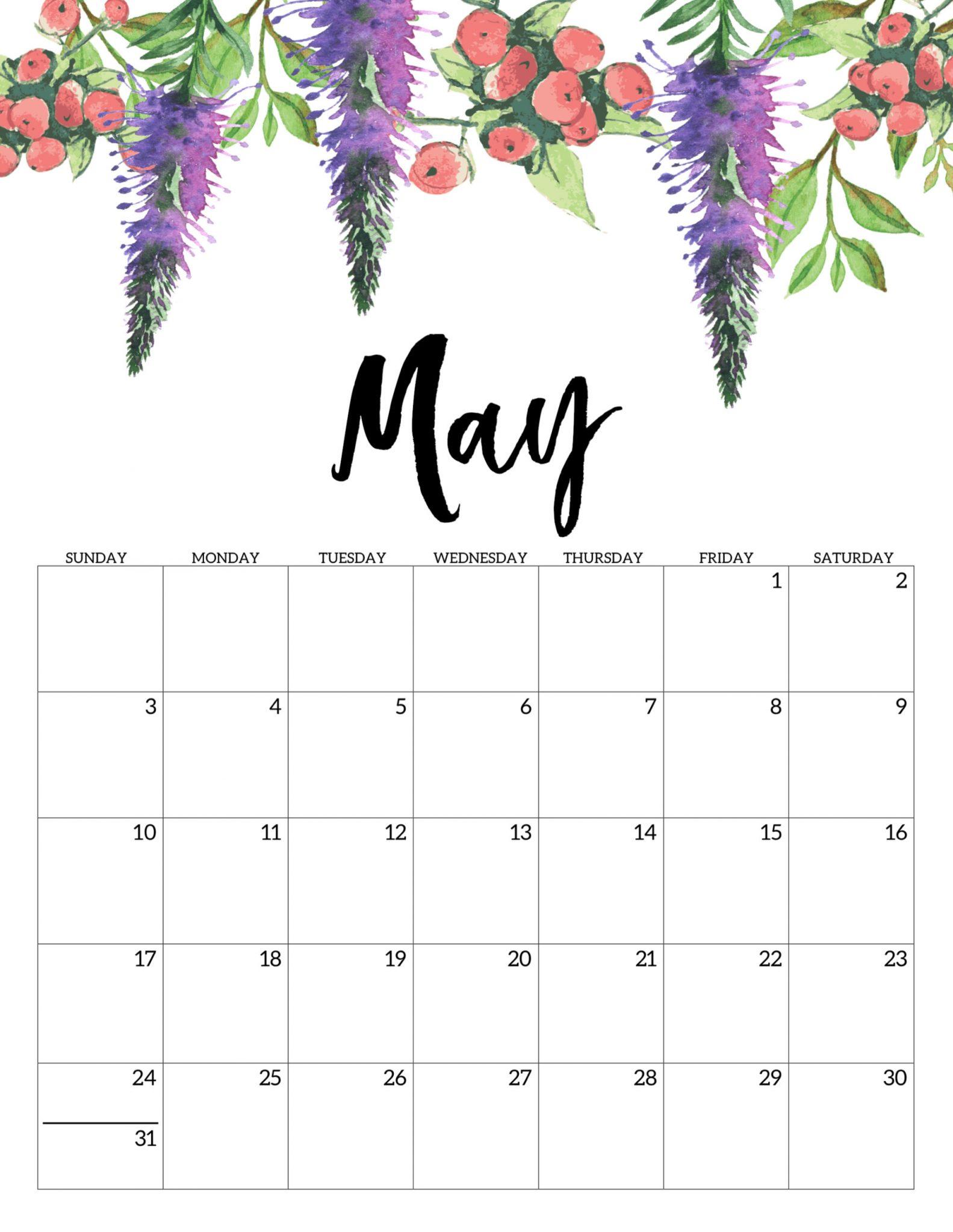 Floral May 2020 Calendar