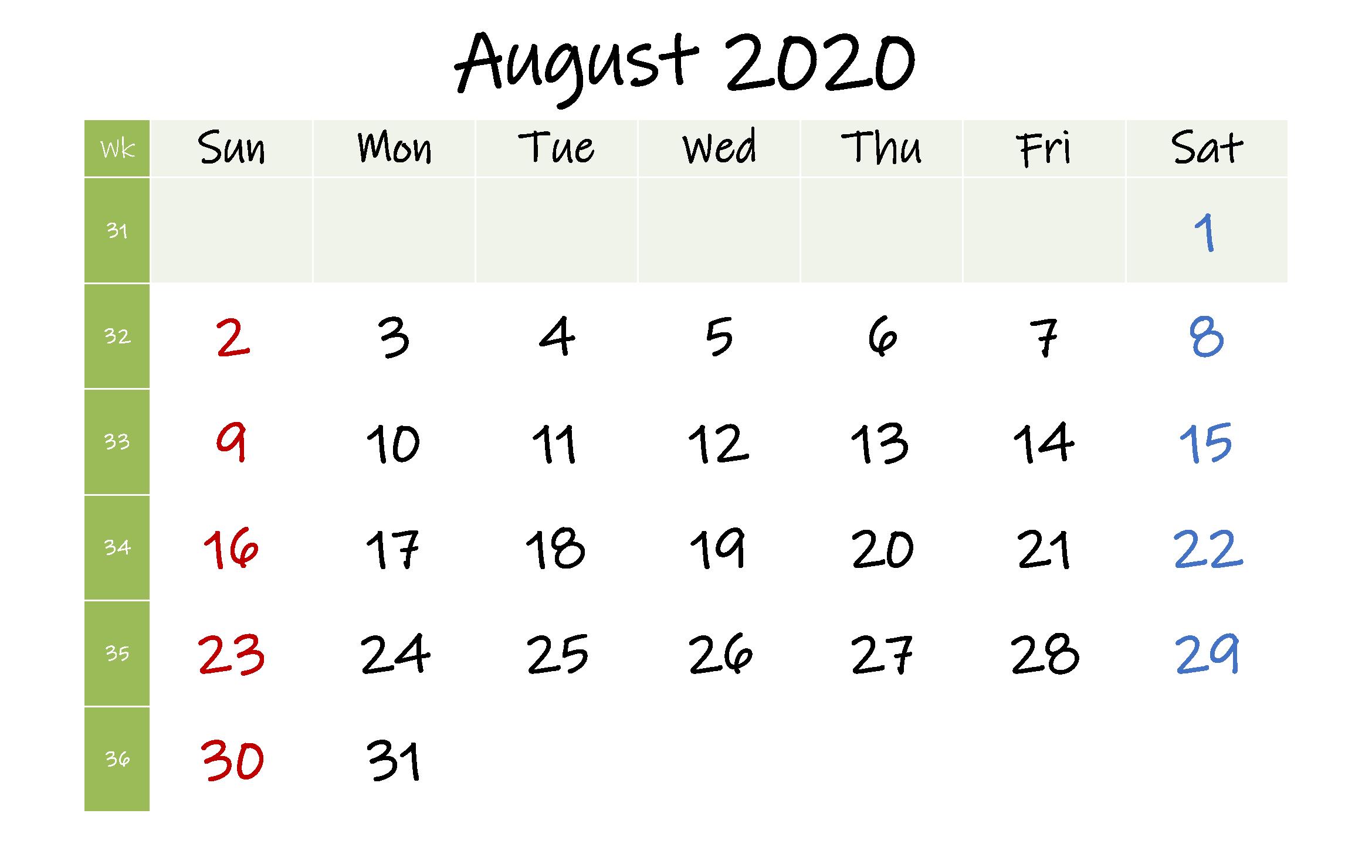 Free August 2020 Calendar A4