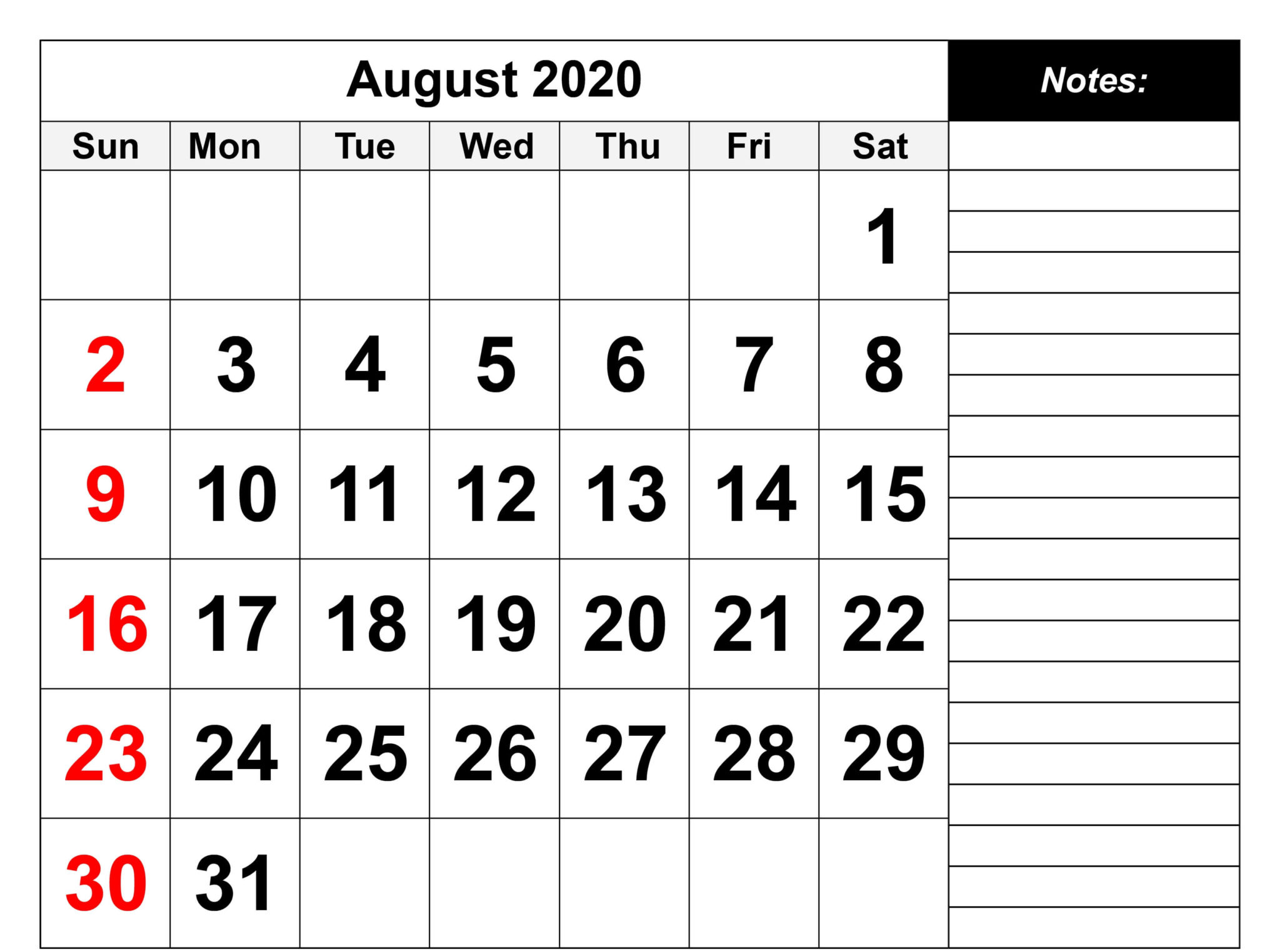 Free August 2020 Calendar With Notes