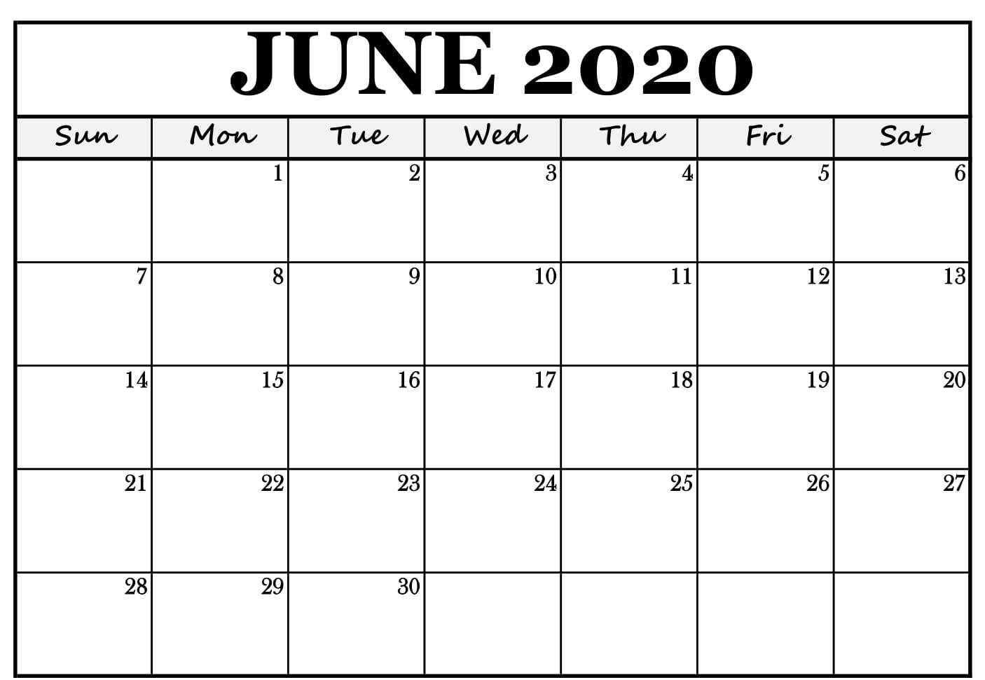 June 2020 Calendar With Notes