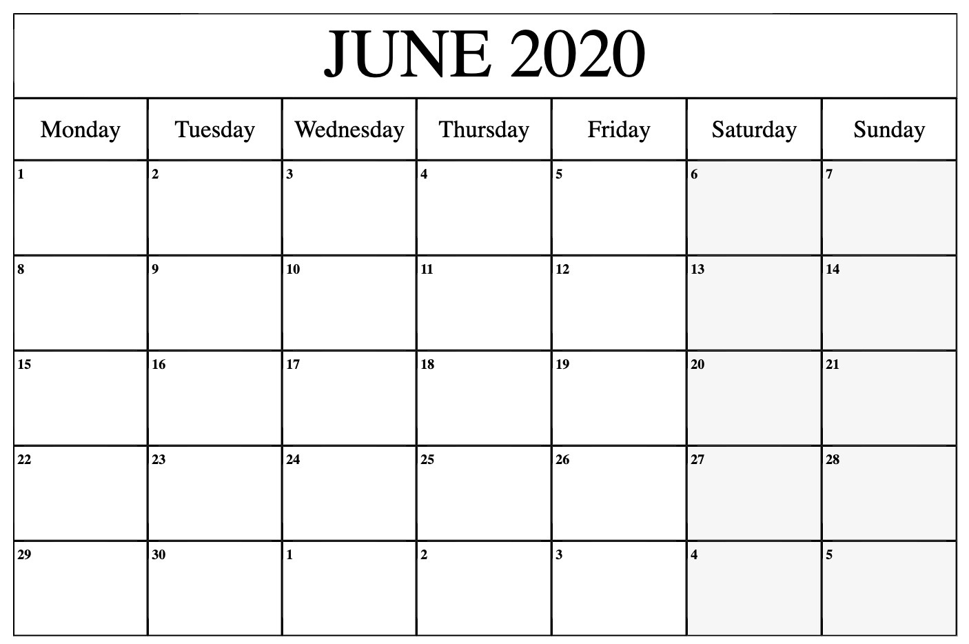 June 2020 Monthly Calendar Printable Monday