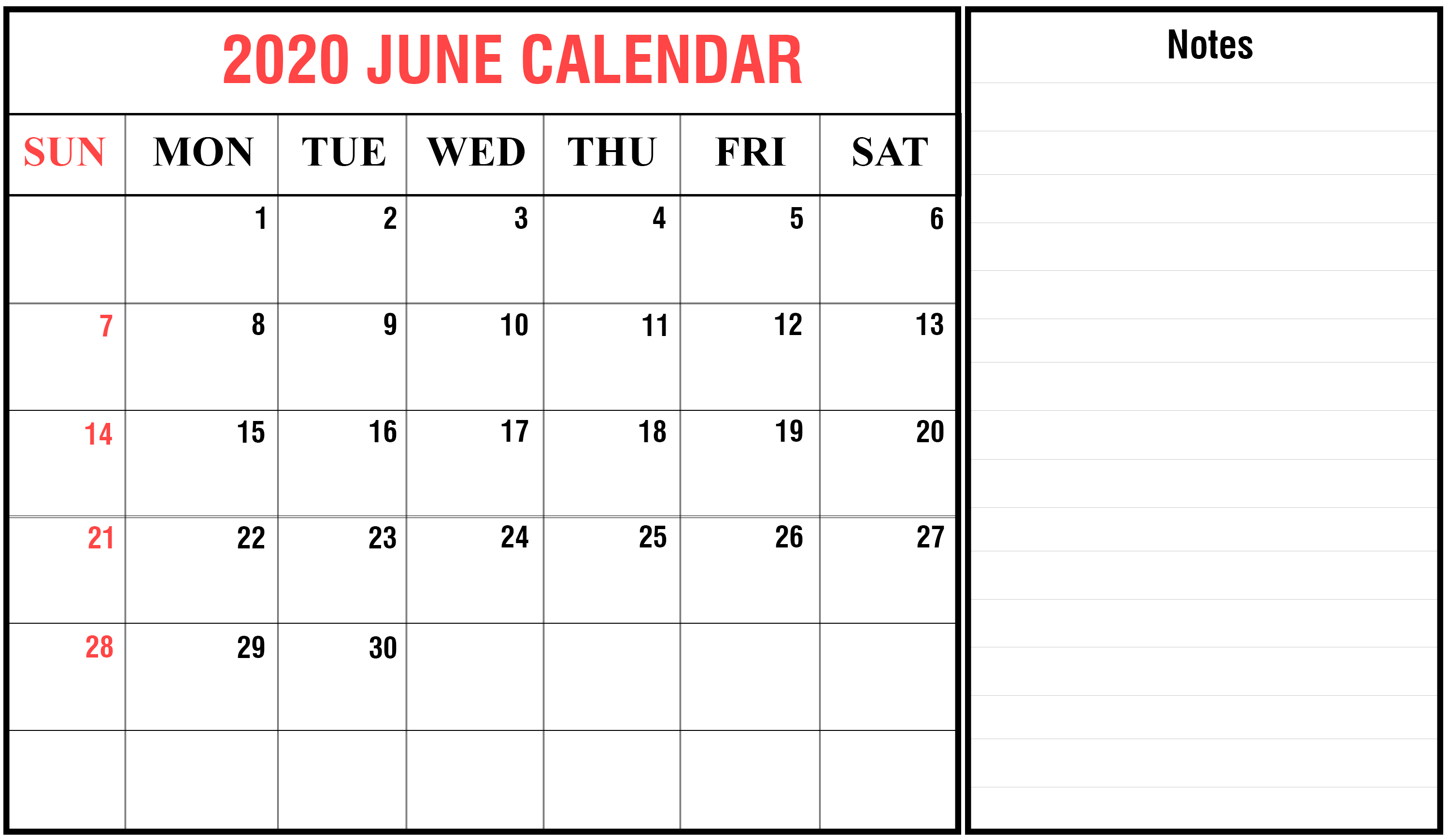 June 2020 Printable Calendar Monthly Template