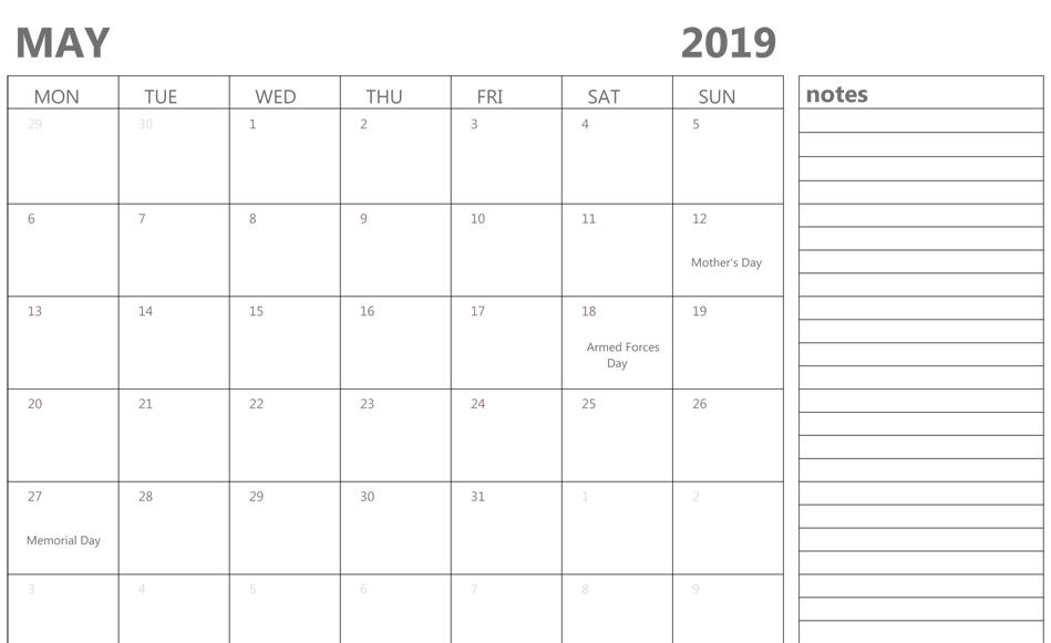 Fillable Calendar 2019.Fillable May 2019 Calendar Editable Printable Notes To Do List