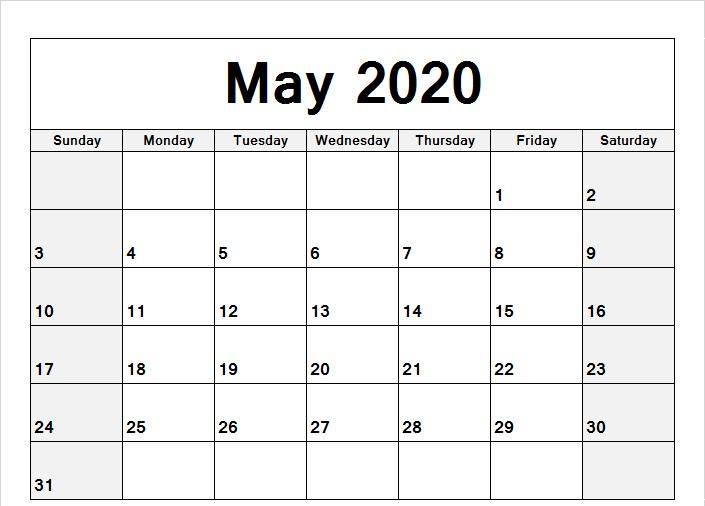 May 2020 Calendar Word