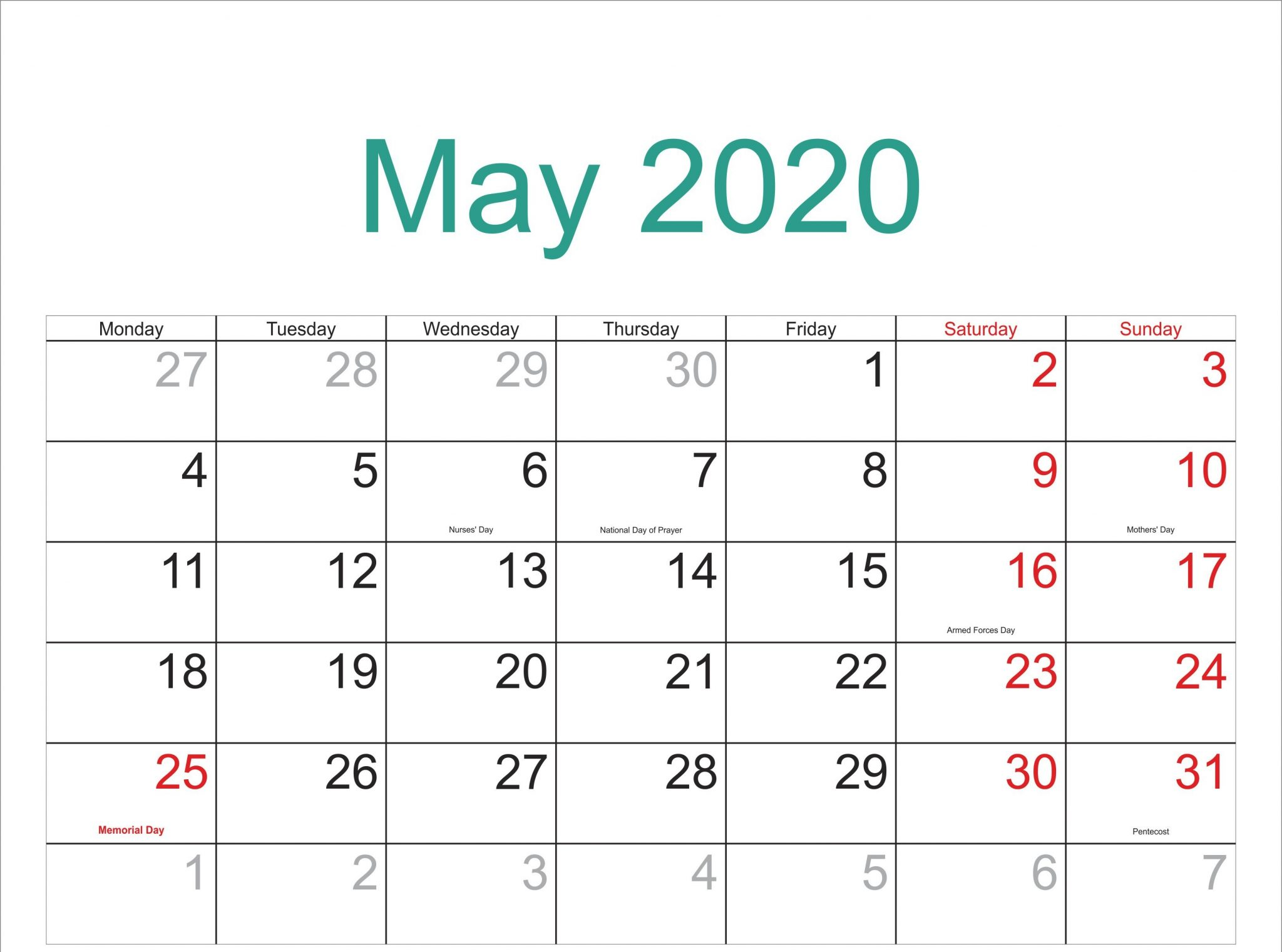 May Calendar 2020 Monthly Printable