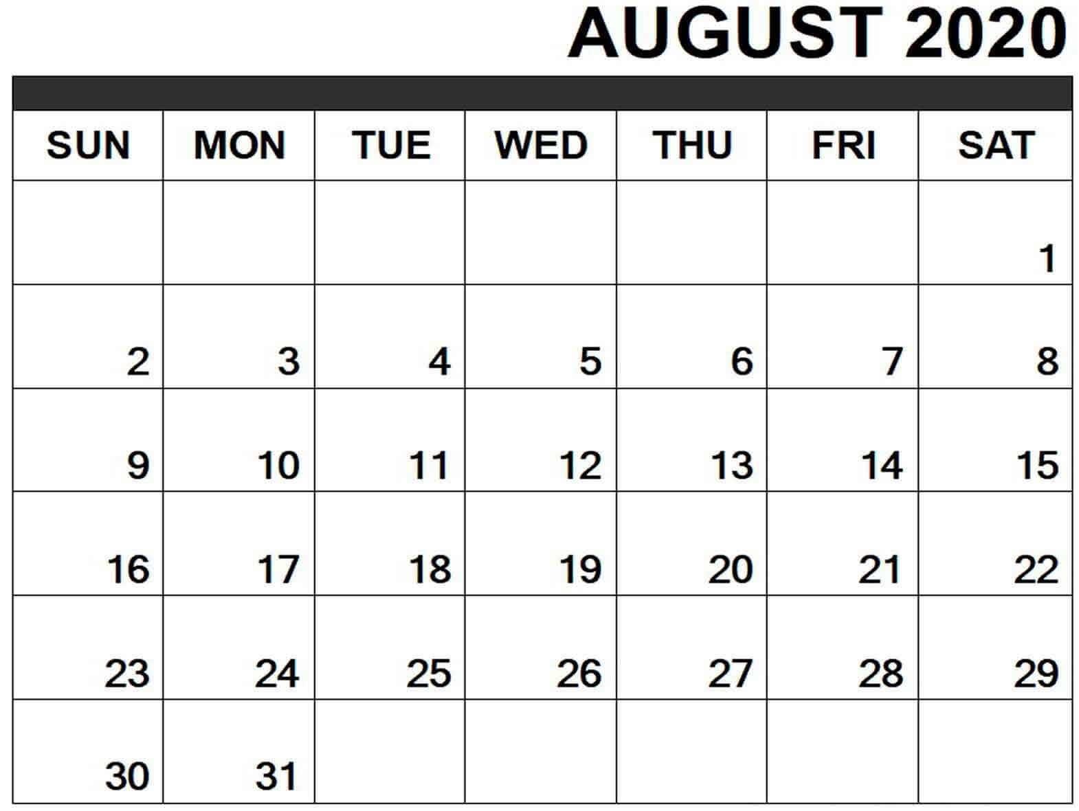 Monthly August 2020 Calendar