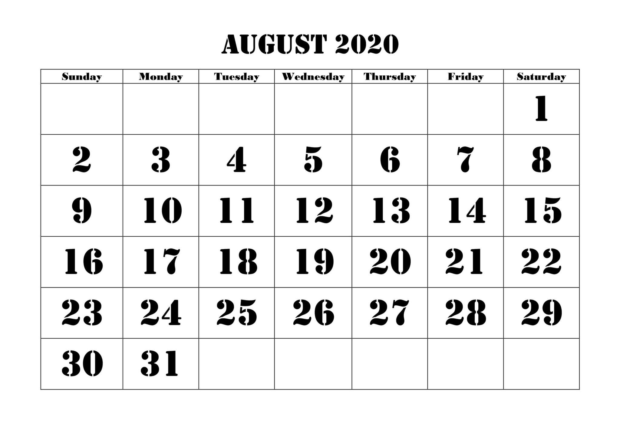 Printable August 2020 Calendar Blank Templates