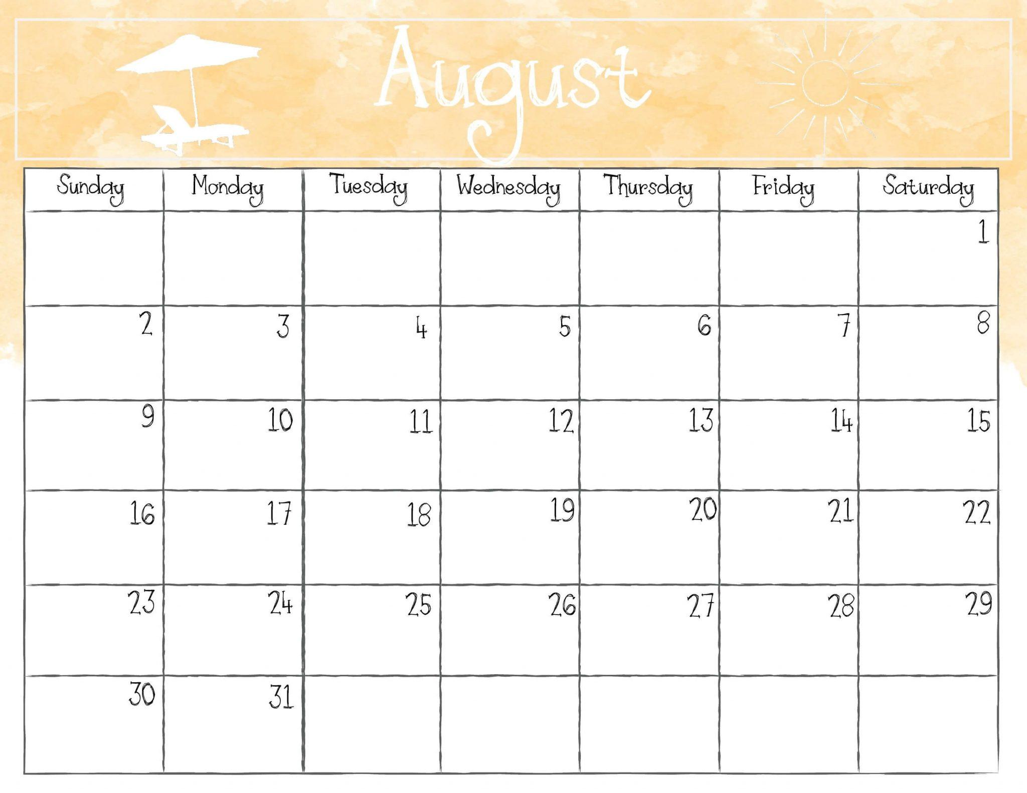 Watercolor August 2020 Calendar
