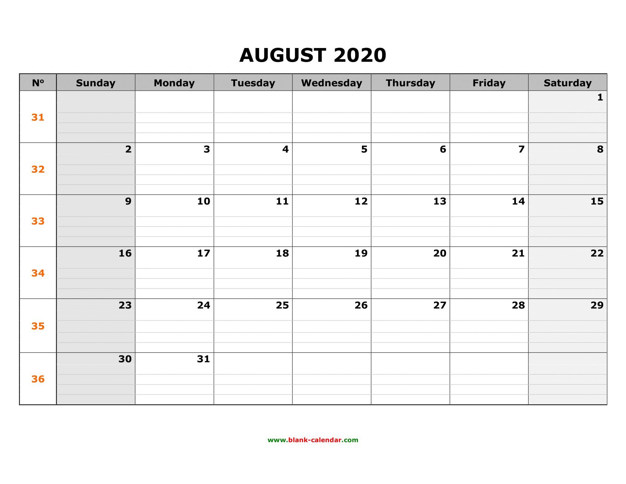 Printable August 2020 Caalendar