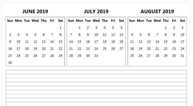 June July August 2019 Calendar Printable Template - PDF