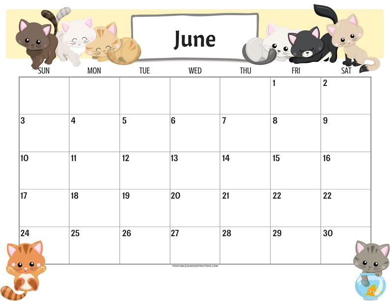 Cute June 2019 Calendar Printable Template For Kids And Students
