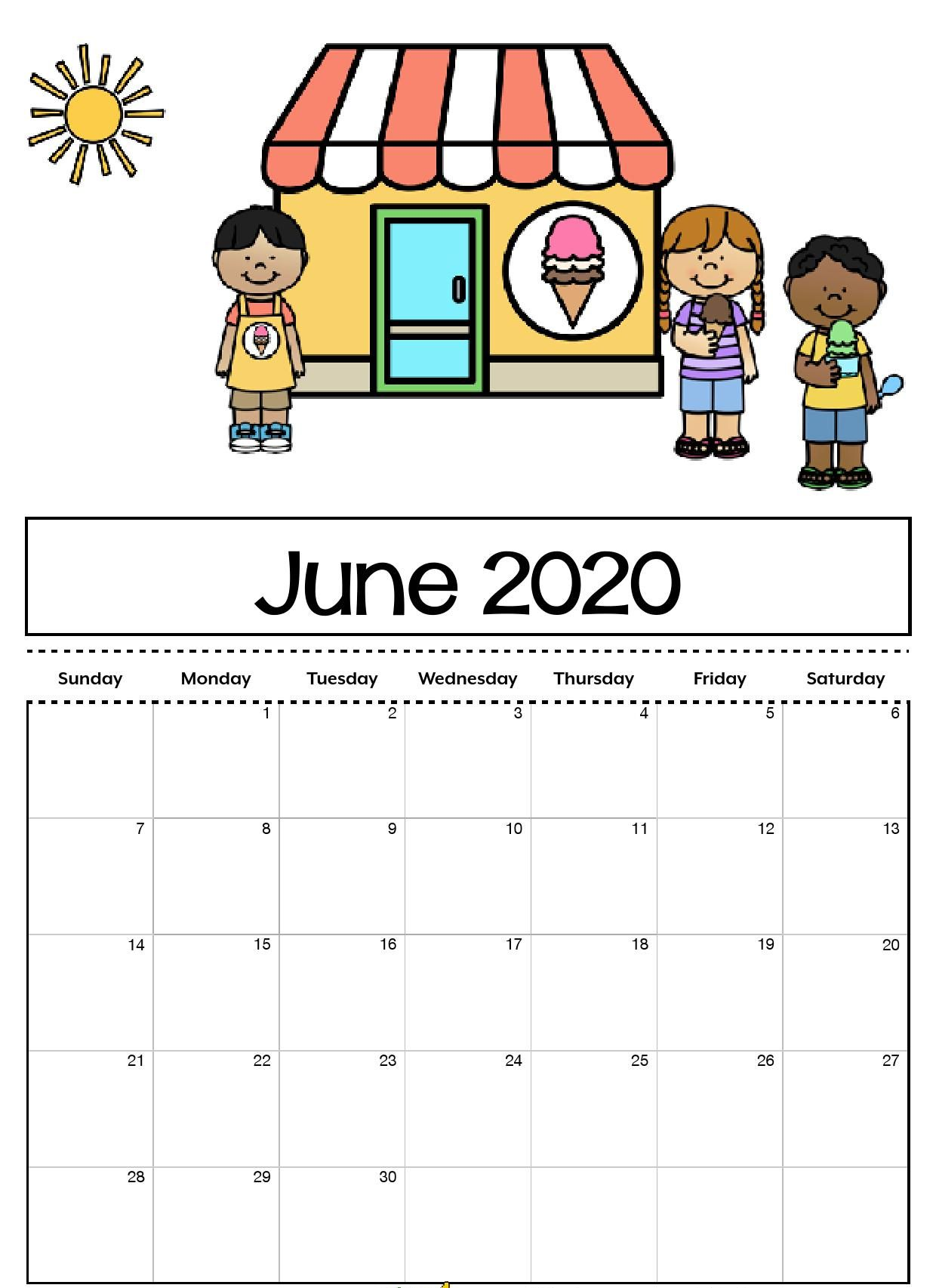 Cute June 2020 Calendar Printable for Kids