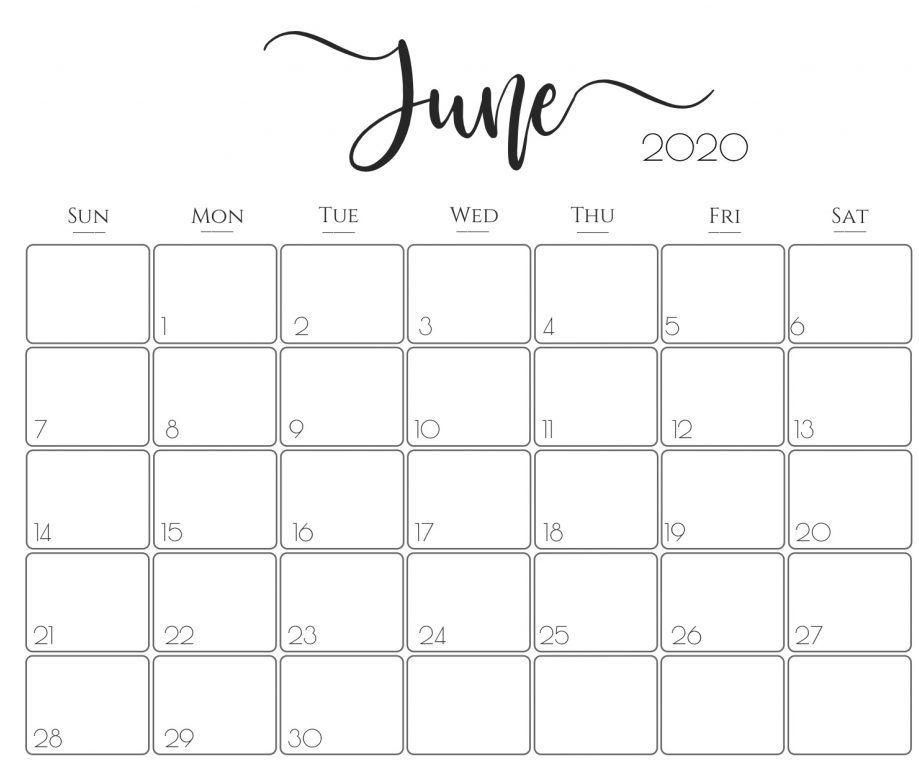 Cute June 2020 Wall Calendar