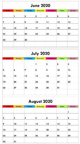 Cute June July August 2020 Calendar