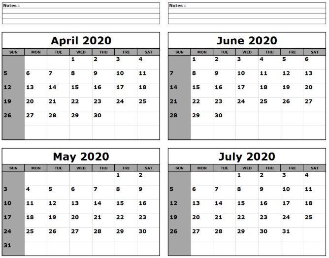 Jun Jul Aug 2020 Calendar