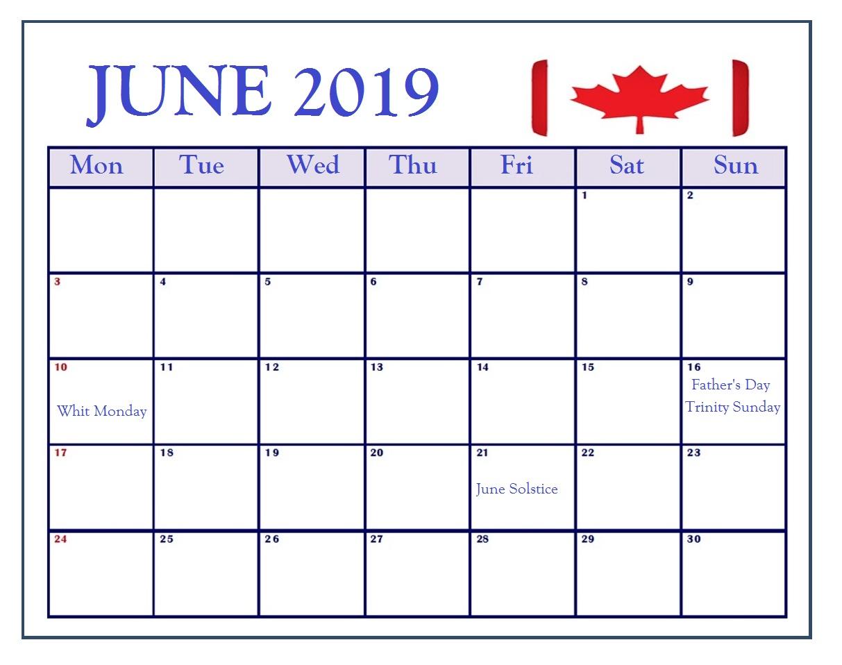 June 2019 Calendar With Holidays Usa Uk Canada India