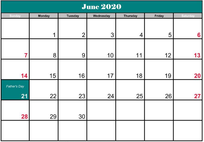 June 2020 Calendar Australia