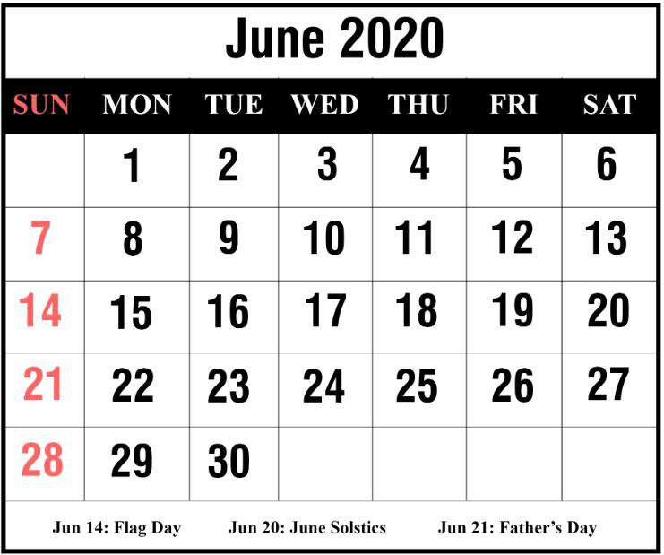 June 2020 Calendar India