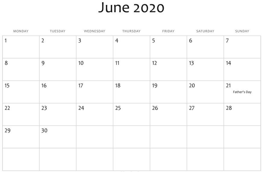 June 2020 Calendar NZ