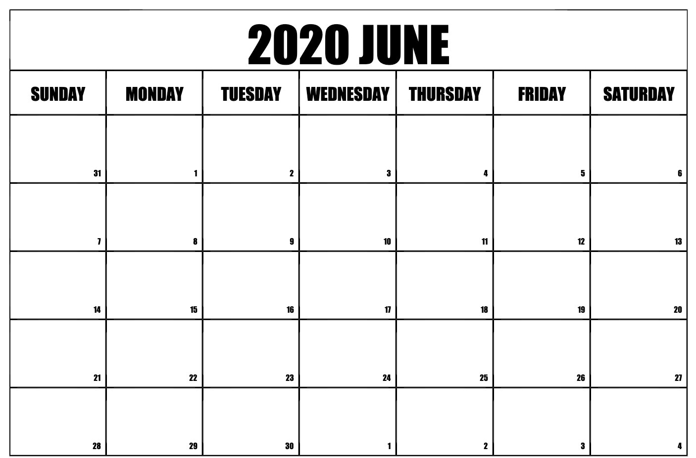 June 2020 Calendar Planner Holidays