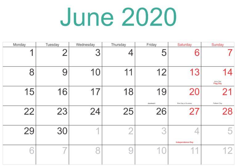 June 2020 Calendar UK