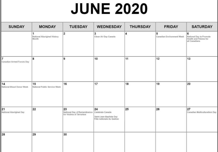 June 2020 Calendar USA