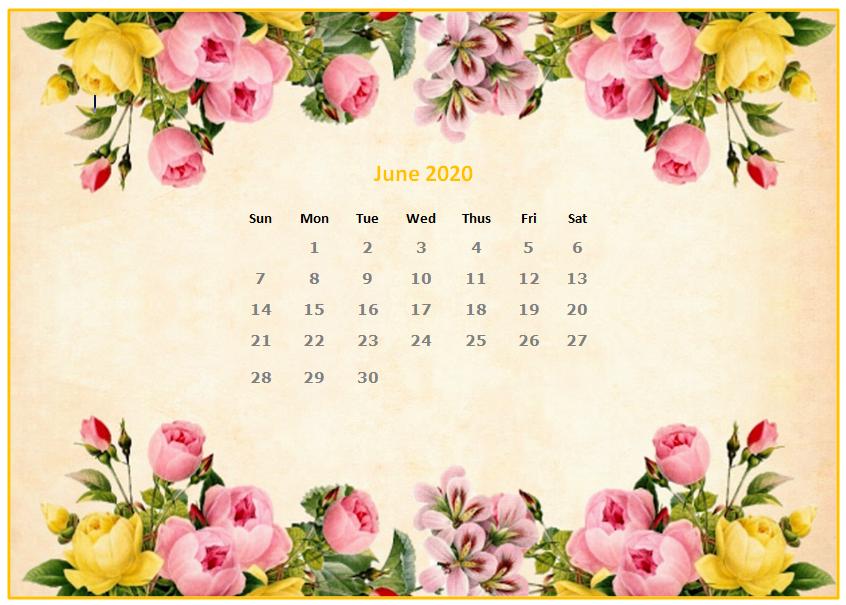 June 2020 Desktop Calendar Wallpapers