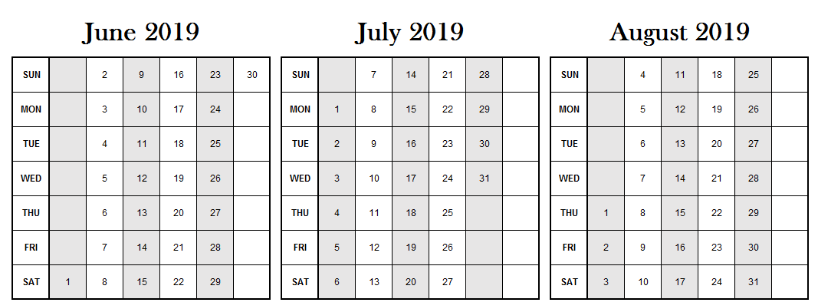 June July August 2019 Calendar Excel