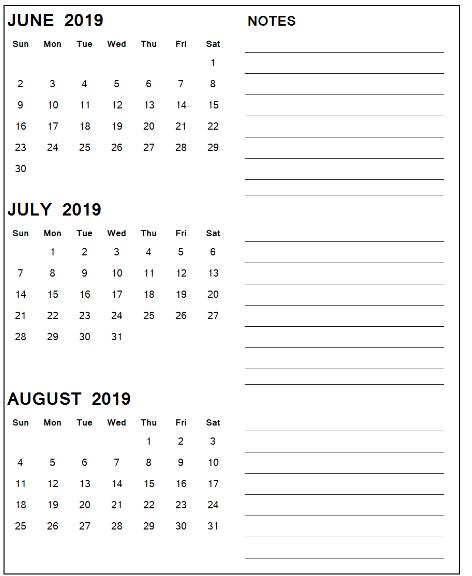 June July August 2019 Calendar PDF