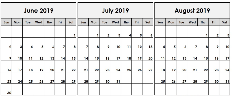 June July August 2019 Calendar Printable