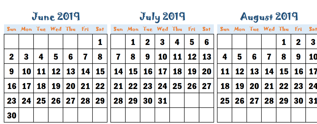 June July August 2019 Calendar Word