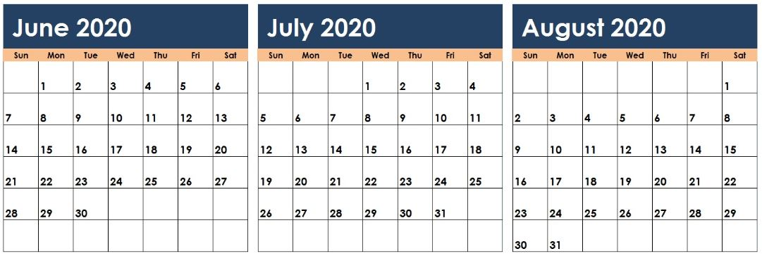 June July August 2020 Calendar Excel