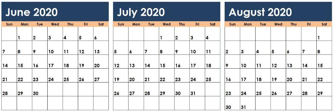 June July August 2020 Calendar Excel