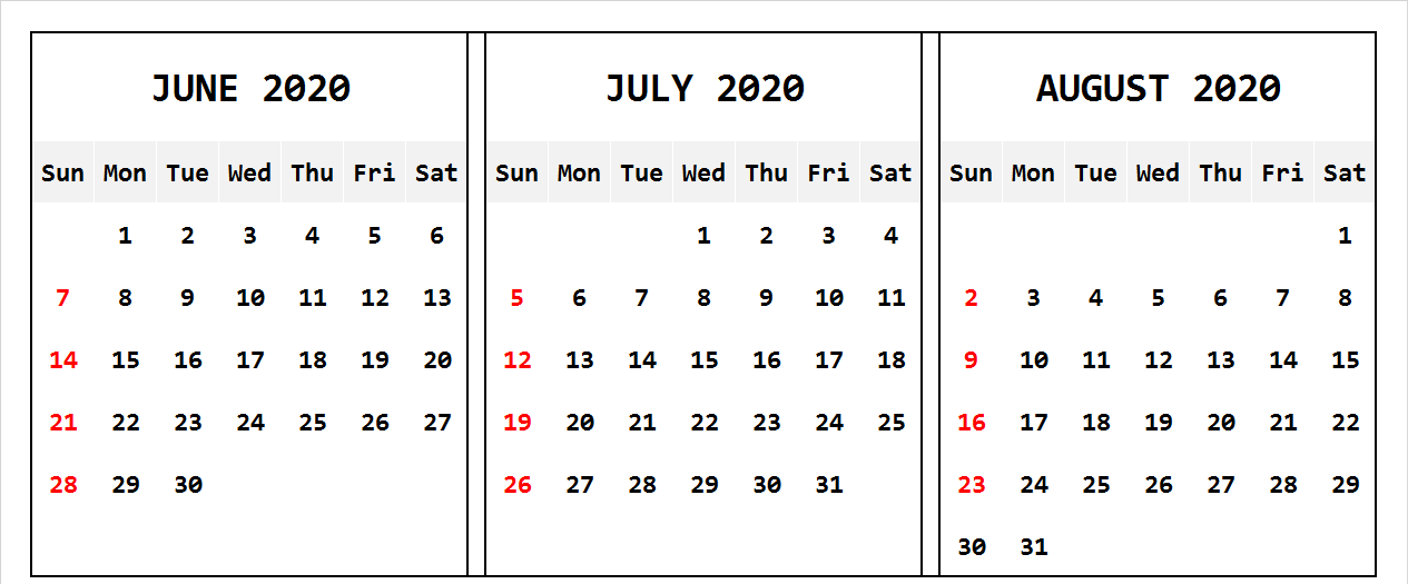 June July August 2020 Calendar Landscape