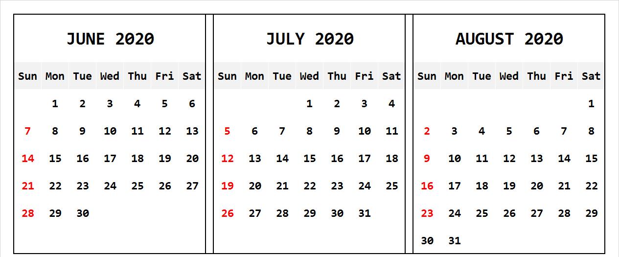 June July August 2020 Calendar Landscape