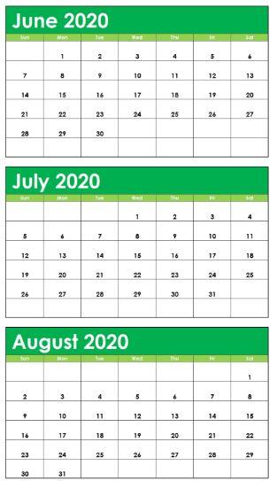 June July August 2020 Calendar PDF