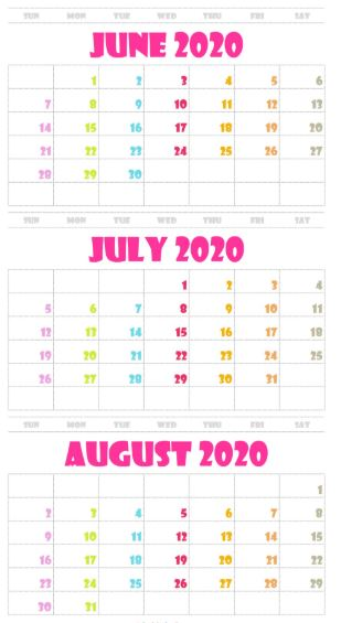 June July August 2020 Calendar Printable