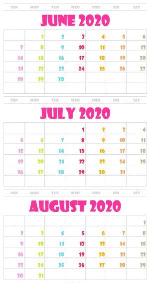 June July August 2020 Calendar Printable