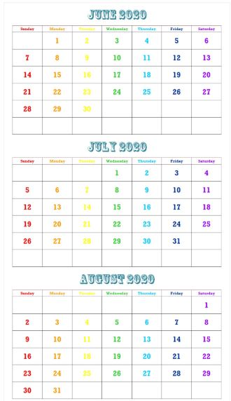 June July August 2020 Calendar Templates