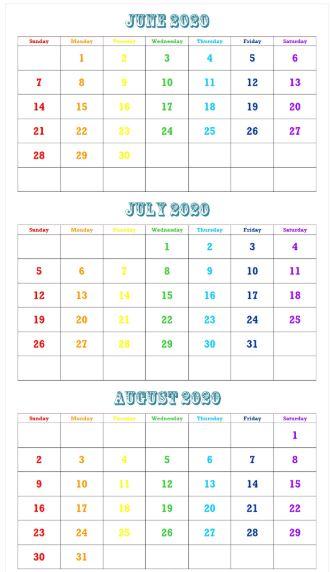 June July August 2020 Calendar Templates