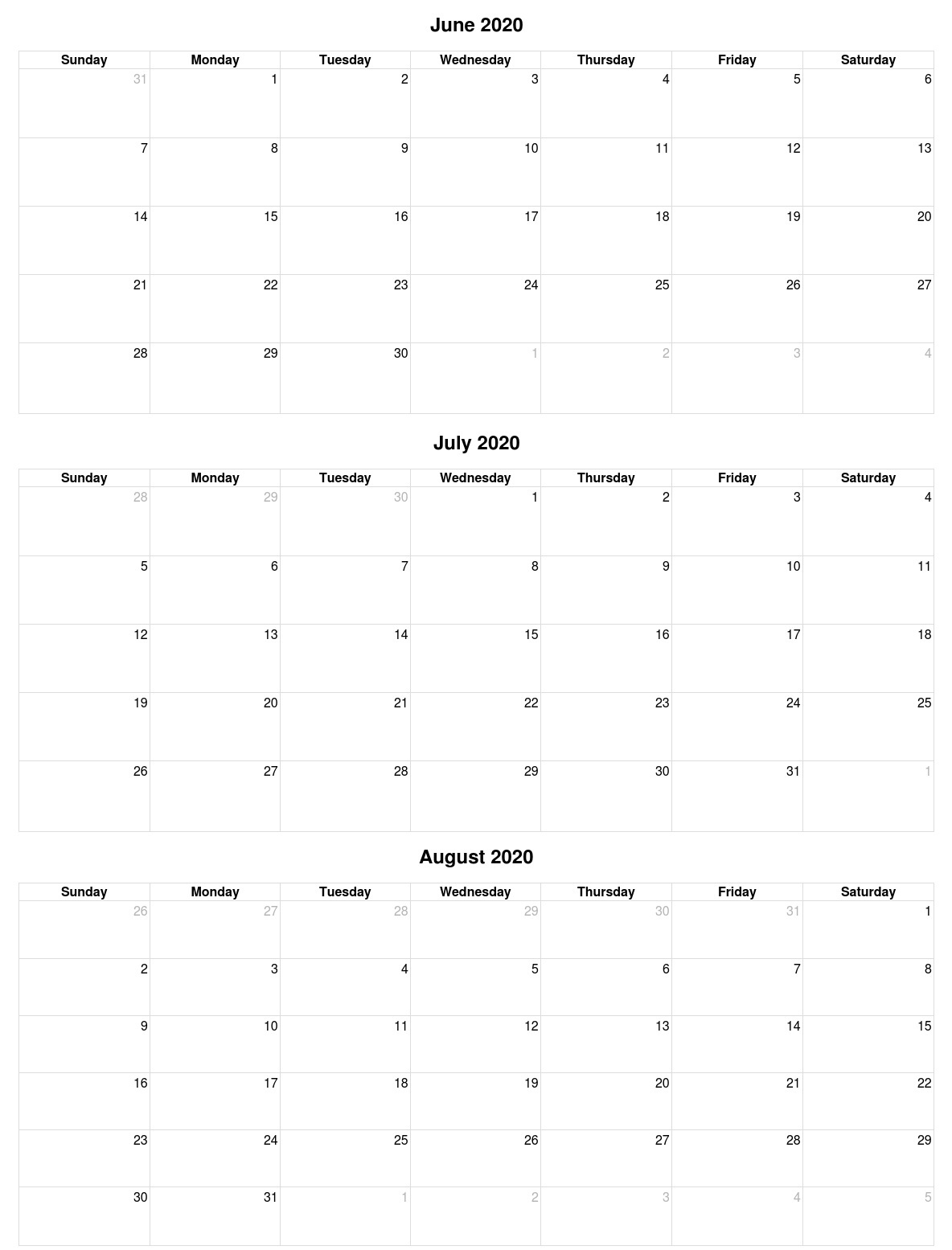 June July August 2020 Calendar Vertical
