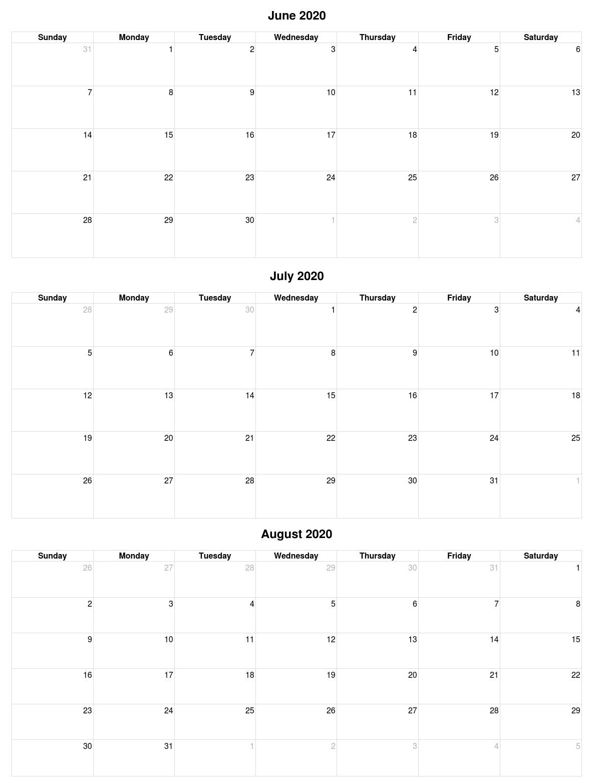June July August 2020 Calendar Vertical