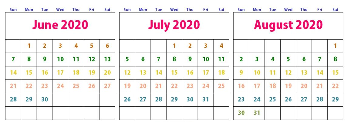 June July August 2020 Calendar Word